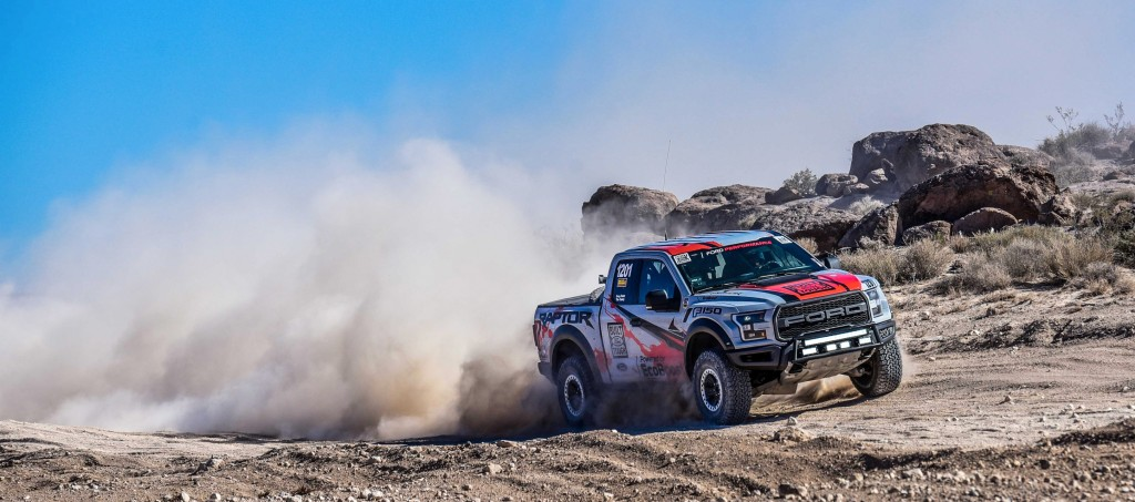 The all-new Ford F-150 Raptor race truck competes in the grueling Best in the Desert Mint 400 off-road race in Primm, Nev., March 12, 2016. Photo credit: SnM-Media